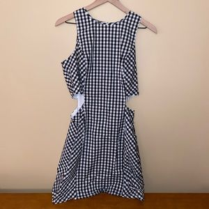 Express Checkered Dress with Cutouts